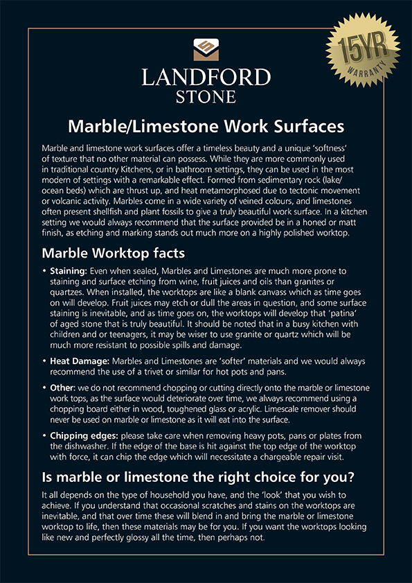 18381 Marble Limestone Work Surfaces A4 Sign.indd