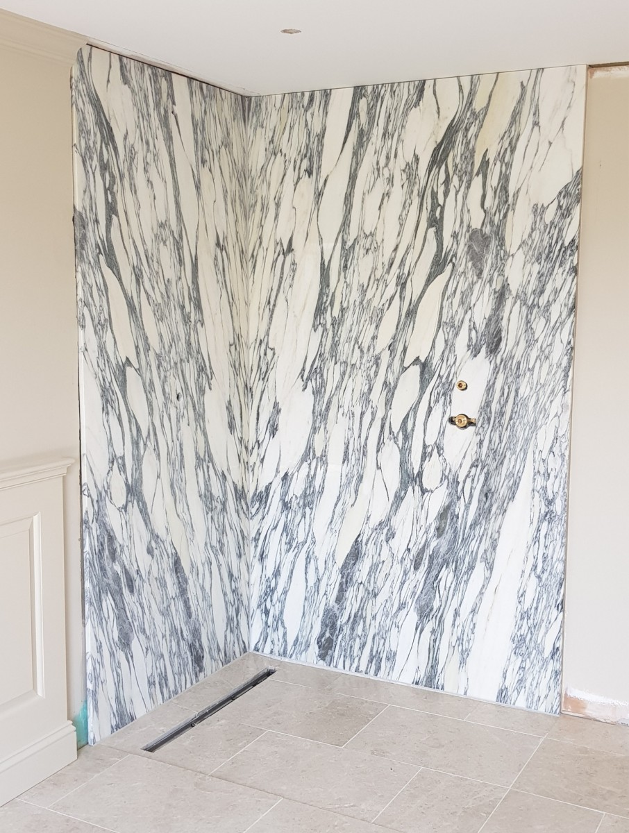 Arabescate marble shower