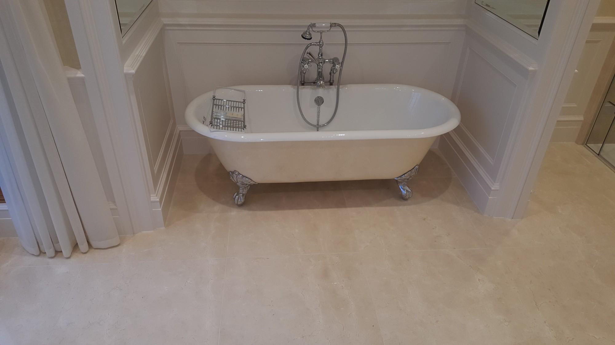 Crema Marfil marble stone bathroom 1