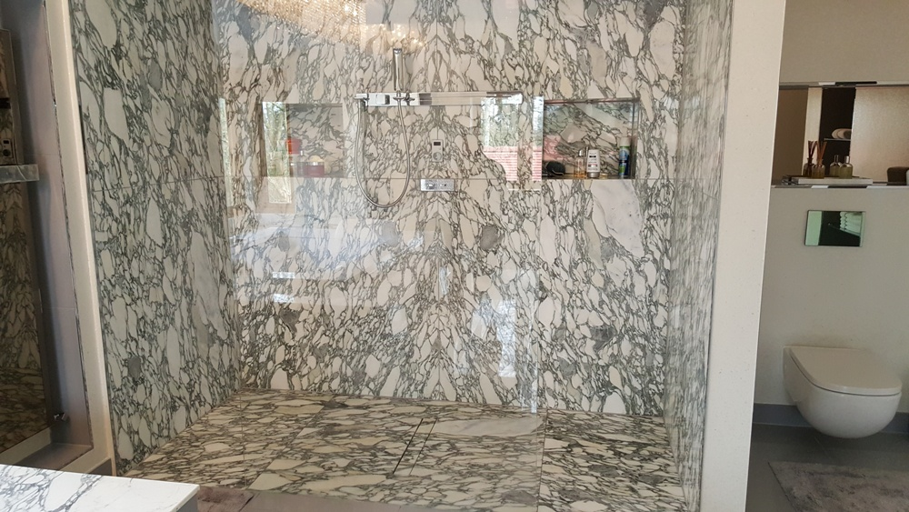 Dorset Home, Arabescato Marble Shower-1