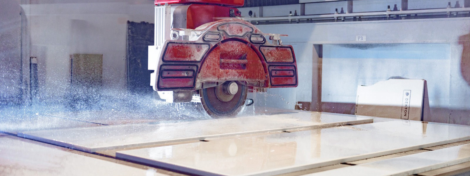 Industrial Saw cutting marble worktop.