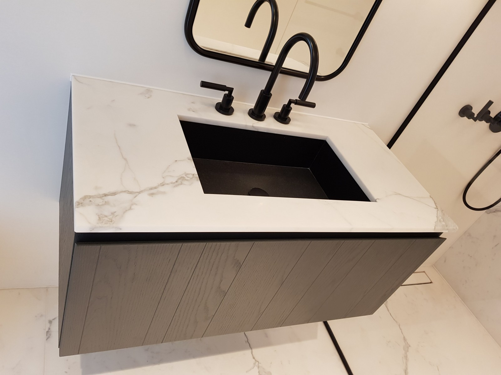bookmatching marble flooring bathroom sink 1